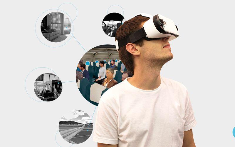 hombre con aparato de realidad virtual